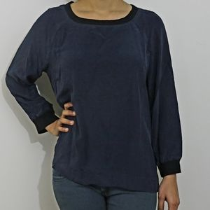 J. CREW Navy long sleeve Silk top Size 8